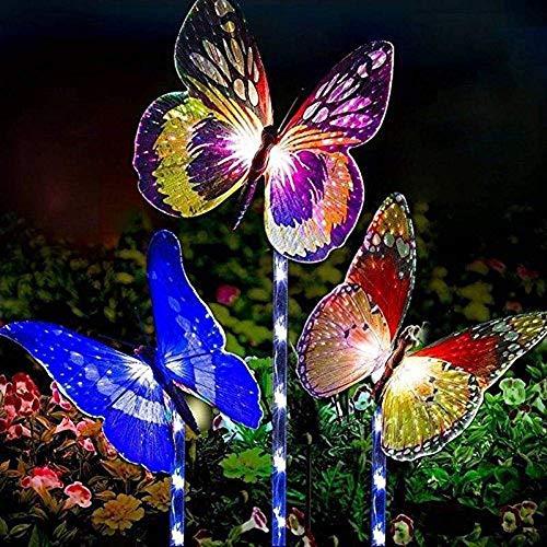 Reboundfive Luci solari da Giardino a Rimbalzo all\'aperto, luci da palo solari a 3 Pezzi Decorazioni da Giardino a Farfalla a LED, luci Decorative a Farfalla in Fibra Ottica per Patio da Giardino