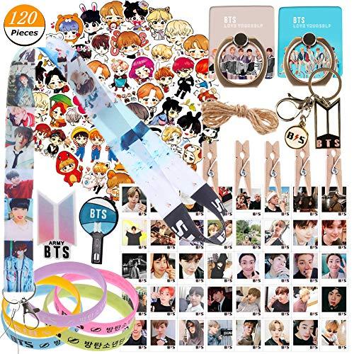 Merch Set, BTS Postkarten+BTS Schlüsselbund+BTS Lanyard+BTS Telefonringständer+BTS Laptop Aufkleber+BTS Pin+BTS Silikonarmband(A) ()