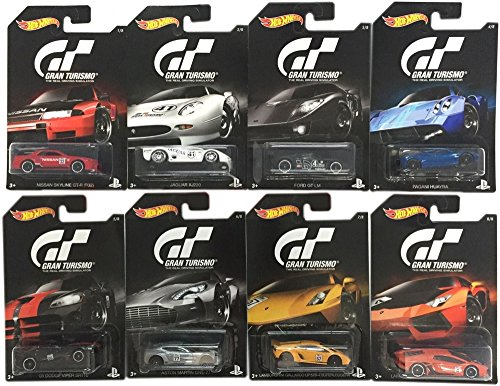 2016 Hot Wheels Set of 8 Cars GRAN TURISMO Limited Edition 1:64 Scale Collectible Die Cast Metal Toy Car Models by California