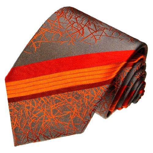 LORENZO CANA - Handgefertigte Designer Krawatte aus 100% Seide - Seidenkrawatte Orange Grau gestreift Streifen - 42076