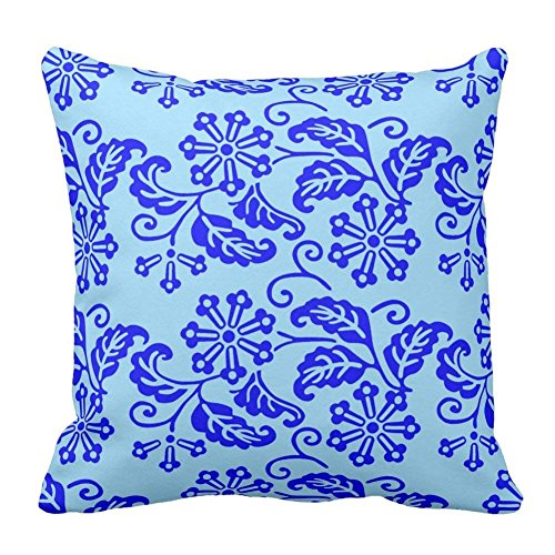Bags-Online Flower Leaf Printed Sky Blue and Navy Blue Floral Pattern Sofa Bed Home Decor Pillow Case Cushion Cover Custom Zippered