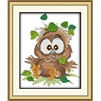 DIY Crafts Stamped Cross Stitch Kits for Beginner Kids Embroidery Kit Home Decor Baby Owl 32x24cm