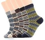Calcetines de Lana Calientes Para Otoño e Invierno Estilo Vintage Hombre / Mujer 5 pares (Hombre:38-44/ Mujer:37-42, Color 3)
