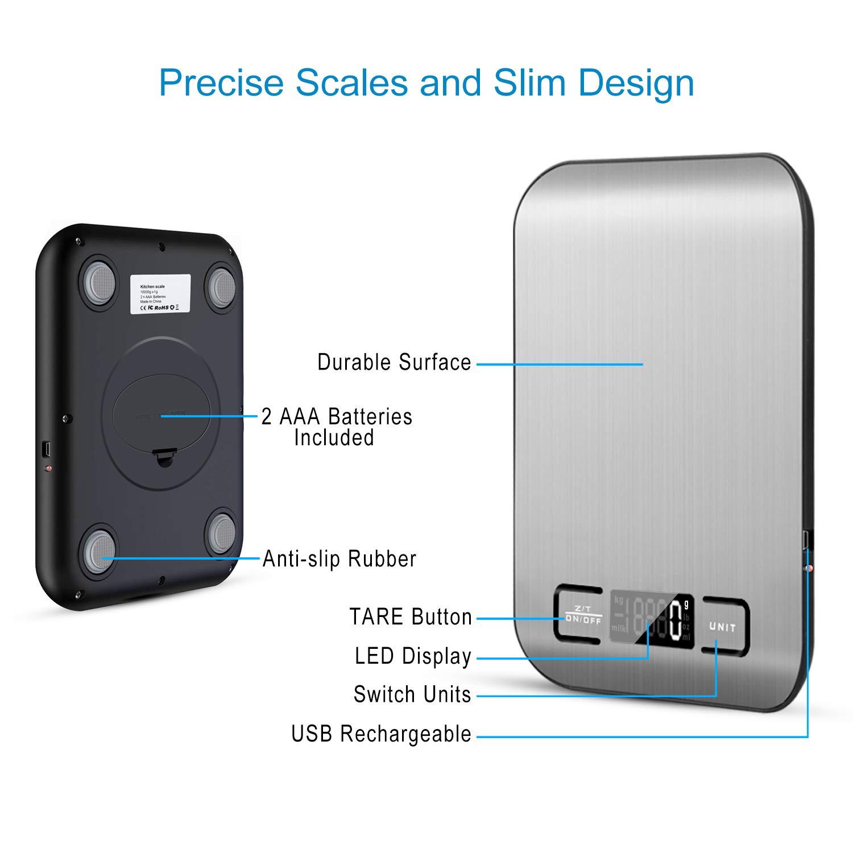 MOSUO Digitale Küchenwaage mit USB-Ladekabel, Digitalwaage Küche 188kg/18g  Professionelle Electronische Waage aus