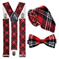 Red Tartan Accessory Set: Tie // Bow Tie // Braces