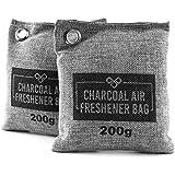 Sac Désodorisant Au Charbon de Bambou VITCHELO. Purificateur d'Air & Absorbeur d'Humidité 100% Naturel. Anti Odeur Utile Pour Combattre la Moisissure dans la Voiture & à la Maison (2 Sachets de 200g)