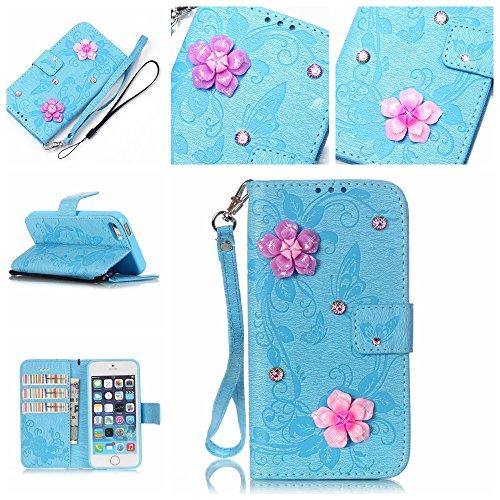 SE / 5 / 5S Hülle,SE / 5 / 5S Case,Cozy Hut ® Ultra Slim Flip Lederhülle / Ledertasche / Hülle / Case / Cover / Etui / Tasche für iPhone SE / 5 / 5S / 3D Diamant Strass Bling Glitzer Schmetterlings-Bl blau Butterfly flowers