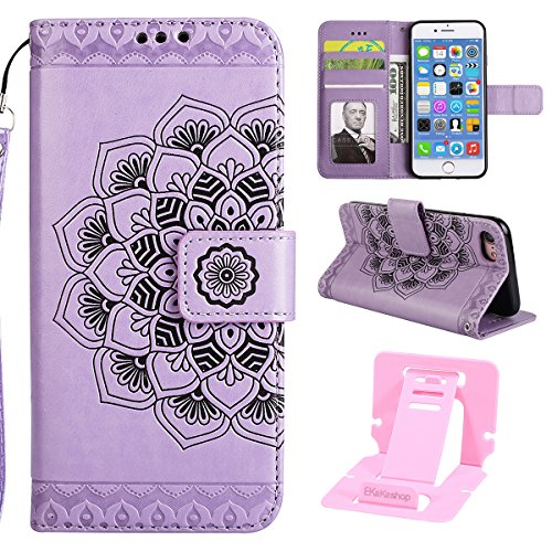 Ekakashop Custodia iPhone 7 4.7, Puro Colore Fiore Modello Sollievo Design Portafoglio Tasca Book Folding Case Cover in PU pelle Borsa Con Cinturino Portatile Antiurto Shock-Absorption Cover Ultra Sl Viola