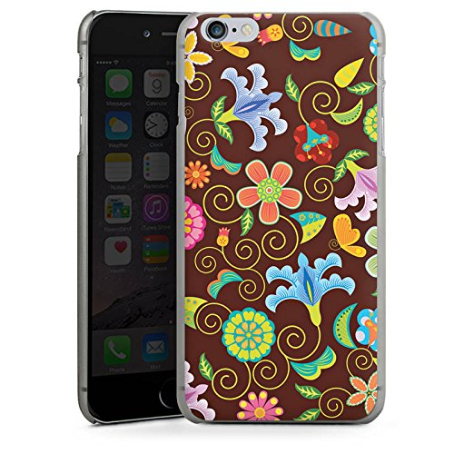 Apple iPhone X Silikon Hülle Case Schutzhülle Retro Bunt Blumen Hard Case anthrazit-klar