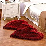 Ab Home Decor Premium Heavy Super Soft Silky Shaggy Anti Skid Heart shape Bed Runner Carpet Mat For Bedroom-Living Room-Floor-Home Decoration-Hall-Maroon