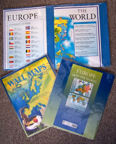 TWO WALL MAPS - EUROPE AND THE WORLD - APPROX. 44CM X 60CM EACH