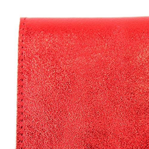 Borsa sera pelle 151 M106 pelle Borsa Modamoda Underarm M151 Clutch in da ital in Rot de Bag Metallic metallizzata 6vwZZ7S8