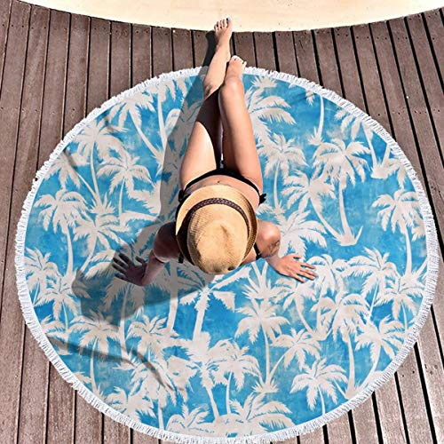 hulil Extra Large Thick Round Beach Towel Maui Palm Turqiouse Microfiber Yoga Mat Blanket Towel 59