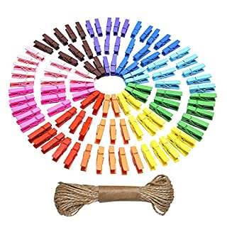 Mini Colored Natural Wooden Clothespins Photo Paper Peg Pin Craft Clips with Jute Twine, 100 Pieces