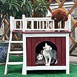 Petsfit Animali domestici esterni in legno con gabbia in legno con terrazza sul tetto, condominio a gatto, maneggio esterno in legno per le case in legno, colore rosso di vino, 73cm x 51cm x 66cm