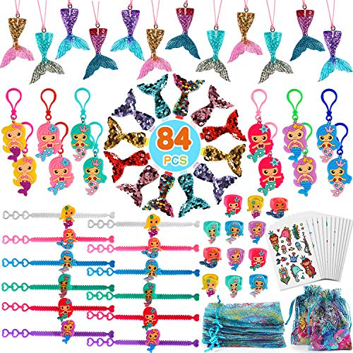 jungfrau Geburtstag Party Zubehöre Meerjungfrau Armband Schlüsselanhänger Haarspange Ringe Halskette Kindertattoos für Kinder Mädchen Meerjungfrau Mitgebsel Deko ()
