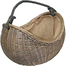 Antique Wash cuerda mango mimbre cesta de transporte