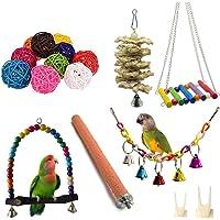 FOXNSK 17 Pack des Oiseaux Perroquet Jouets, Pendaison Cloche des Oiseaux Cage Jouets Adapté pour Petit Perruches…