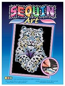 Sequin Art- Kit de Bricolaje para niños, Leopardo Blanco, CREA Bello Arte Colorido con Lentejuelas, (5013-1404)