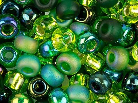 Miyuki 6/0 Round Seed Beads Mix Evergreen Light Cranberry 20g