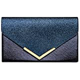 Caspar TA430 Damen XL Envelope Metallic Clutch Tasche Abendtasche, Farbe:dunkelblau, Größe:One...