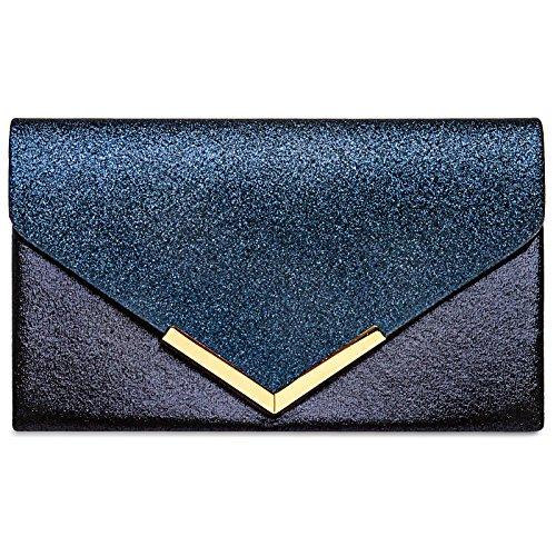 Caspar TA430 Damen XL Envelope Metallic Clutch Tasche Abendtasche, Farbe:dunkelblau, Größe:One Size (Envelope Clutch Metallic)
