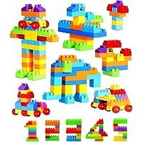 Adichai Building Blocks for Kids with Wheel, 100 Pieces, Multicolor