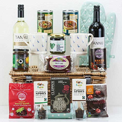 Natures Hampers Organic Welcome to your New Home Gift Hamper - Luxury Organic Vegetarian Food - Organic Gift Box - Organic Vegetarian & Vegan Basket - Birthday for Him - Birthday for Her - Christmas Gifts - Xmas Present
