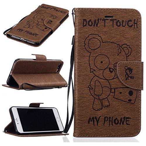 BONROY-iPhone-7-Plus-55-Zoll-Hlle-Lustige-nette-Teddybr-Folio-Schutzhlle-Tasche-PU-Leder-Mit-Wallet-Kartenfach-Magnetverschluss-Standfunktion-Handytasche-Slim-Schutzhlle-Mit-Karten-Geldscheinfach-Hand