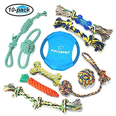 Focuspet Dog Rope Toys, Puppy Toys Set Pet Cotton Rope Chew Toys Chewing Toys for IQ Training Teeth Aids Durable for Small Medium Large Dogs 10 Pack