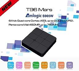 T96 Mars Android 7.1 TV Box Amlogic S905W Quad-Core 2GB RAM 16GB ROM 2.4GHz 4K HD with Bluetooth 2.1 Internet Set Top TV Box