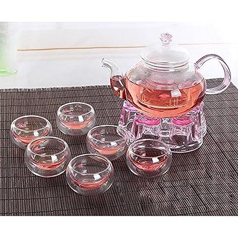 DecentGadget® 6 High Heat Resistant Borosilicate Glass Cups Copa de vidrio + 600ML Borosilicate Teapot tetera de cristal + Borosilicate Teapot Warmer Tetera de cristal más cálido(6 cups+teapot+warmer set)