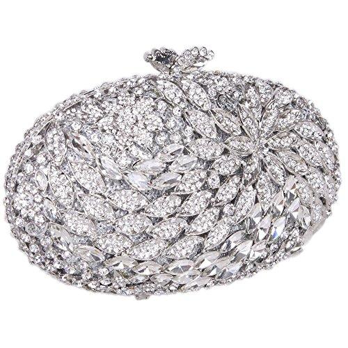 Damen Clutch Abendtasche Handtasche Geldbörse Groß Glitzertasche Strass Blume Oval Tasche mit wechselbare Trageketten von Santimon(9 Kolorit) Silber