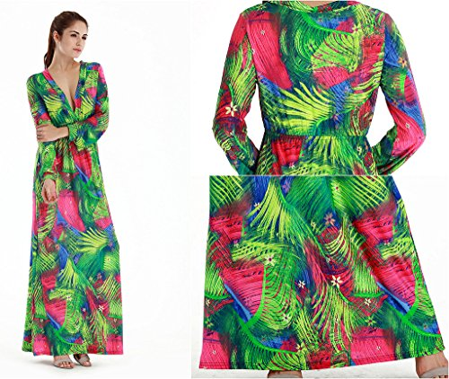 Smile YKK Lange Aermel Damen Geblümt Strandkleid Party Kleid Maxirock Cocktailkleid Freizeit Kleid Mehrfarbig B
