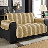 Wag and Wiggle Reversible Luxury Faux Fur Plush Furniture Cover Love Seat, White Sand