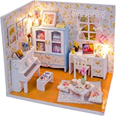 Fancyku Mini Wooden Cottage Model DIY Kit with Furniture Lamp Household Display Decoration Dollhouse Toy