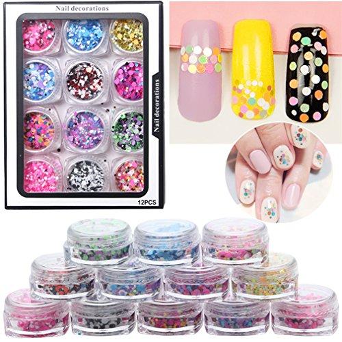 JasCherry 12 Perlglanz Farben Döschen Nagel Glitter Pailetten Flitter Glitzer pailletten Nail Art Set Kit fur Nagel Dekoration (Runde Shape, 7g/box, 130g/set) #2