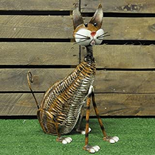 41cm Painted Metal Vintage Style Garden Cat Ornament