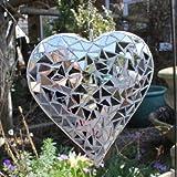 Hübsches Hängendes Silber Spiegel-Mosaik Herz Ornament, Garten oder Haus Deko