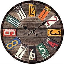 Orologio da Parete Vintage, Vicoki Orologio con Modalità Silenzioso per Camera e Salotto Legno Multicolore, 34cm