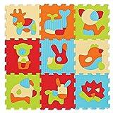 LUDI – Tapis de sol épais pour l'éveil de bébé – 10005 - puzzle géant aux motifs Animaux – dès 10 mois – lot de 9 dalles en mousse multicolores et 51...