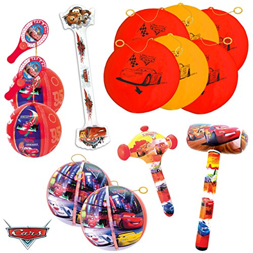 TB TOYS Cars Kit de Fiesta de cumpleaños con 13 Juguetes hinchables para los niños