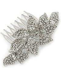Suite/diseño de vestido de fiesta/boda/chapado en rodio de fiesta Cristal austríaco transparente lateral de hojas de pelo peine - 9 cm W