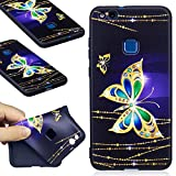 Huawei P10 Lite Case, Huawei P10 Lite Silicone TPU Transparent Cover, COZY HUT Premium Ultra Slim Thin Silicone Flexible Quality TPU Soft Pattern Design Cute Black Cover, Gel Plastic Protective Shock Absorption Proof Drop Defend Anti Scratch Shell for Huawei P10 Lite - Golden butterfly
