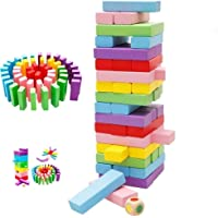 Toyshine Wooden Building Block Dominoes, Party Game, Tumbling Tower Game (54 Pieces)