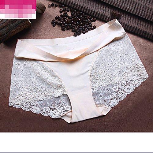 Frauen-Eis-Seide Ohne Eine Spur Unterwäsche-reizvolle Spitze-Gewebe-Baumwolle Stalls Angle Pants Taille (3 Sätze) A3