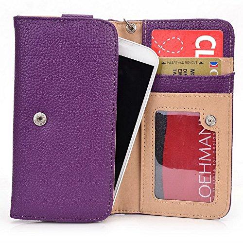 Kroo Pochette Téléphone universel Femme Portefeuille en cuir PU avec dragonne compatible avec Microsoft Lumia 640Dual SIM/540Dual SIM Multicolore - Emerald Leopard Violet - violet