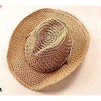 Da uomo estivo pieghevole in paglia con cappello da Cowboy, cavo corto-pescatore con tesa parasole, light coffee