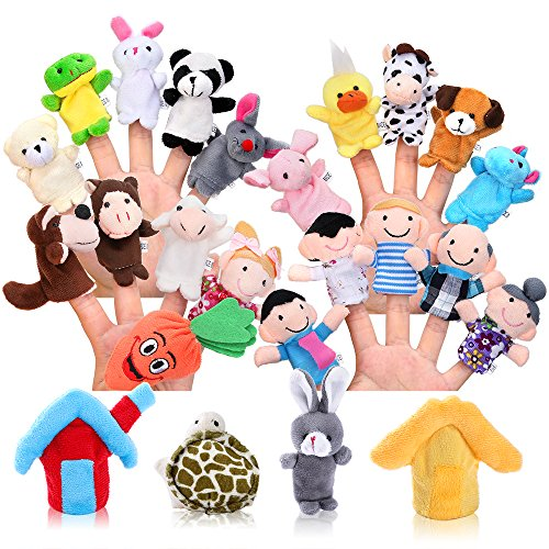 Pllieay 24 Stücke Fingerpuppe Set Spiel Lernen Weiche Pädagogische Handpuppe mit 15 Tieren, 6 Personen Mitglieder Einer Familie, 2 Stück Haus und 1 Stück Karotte für Baby und Kleinkinder