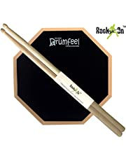 "Rockon 8"" Inches 2 Sided Drum Practice Pad + Bag + Drum Sticks"